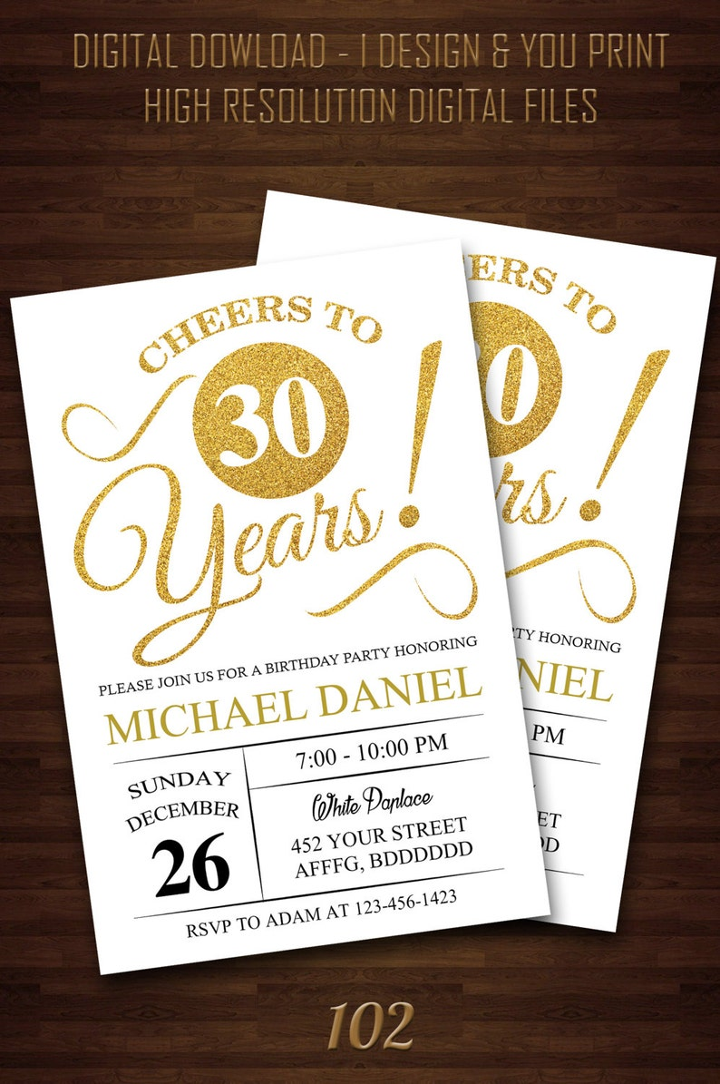 Surprise 30th Birthday Invitations For Him Party Digi
