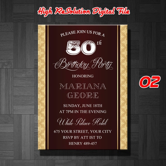 50th Birthday Invitation Male Invitation50th
