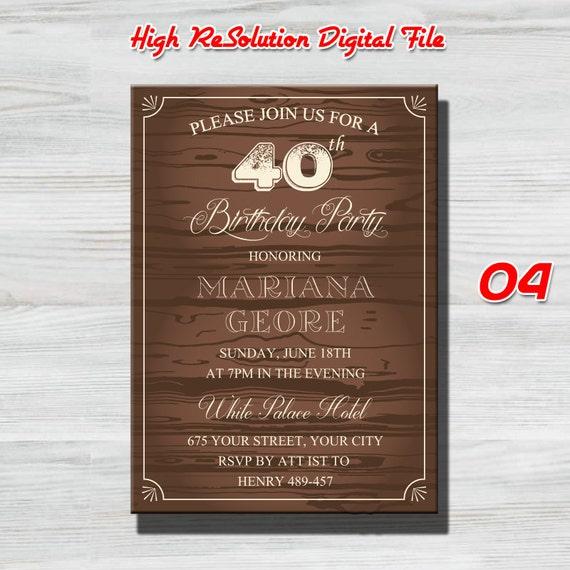 40 Años Para Los Hombres Invitación De Cumpleaños 40 40 Aniversario Partido Favores Decoración De Cumpleaños De 40 60 50 40 30 70 Cualquier Edad