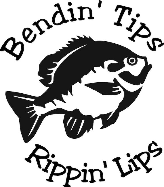 Bendin/' Tips Rippin/' Lips Bluegill Ice Fishing Window Wall Decal Man Cave Boat