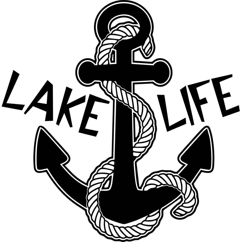 Lake Life Anchor with Rope Window Wall Decal Lake Home Cottage Cabin  Bedroom Living Room Kitchen Boat Trailer Truck Car RV Camper Cooler Art