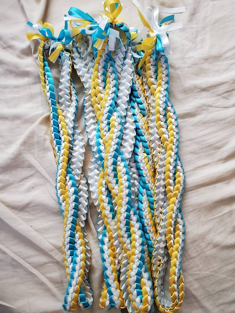 3-4 Color Twisted Single Weave Ribbon Lei