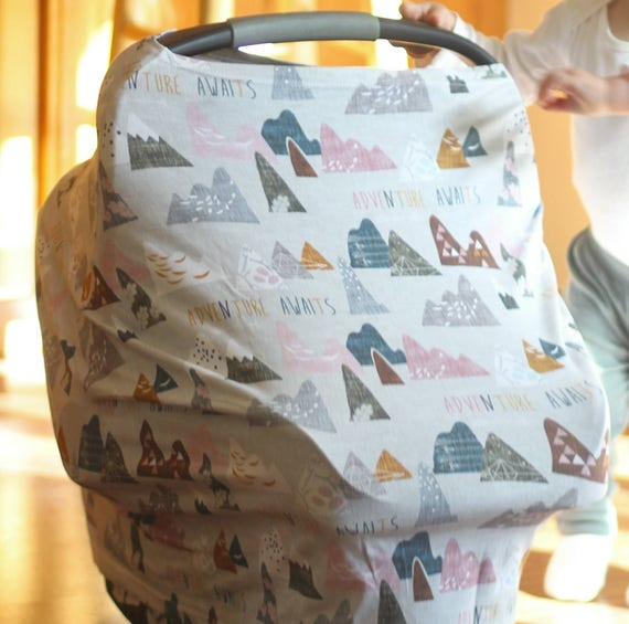 Marvelous Stretchy Car Seat Cover Nursing Cover Car Seat Cover Cart Cover Multiuse Stretch Baby Carseat Cover Adventure Awaits Pink Baby Girl Bralicious Painted Fabric Chair Ideas Braliciousco
