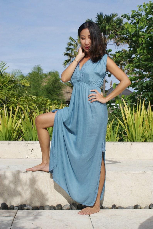 Dress Maxi embroidered Beach wearBohemian maxi dressTrendy maxi dressEmbroidered trendy dress LUNA Maxi DRESS