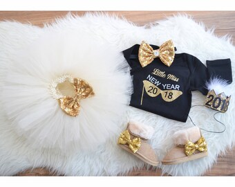 1362dfdb5c26 Happy New Year outfit for Infant, New years eve dress for babies, Sparkle  outfit , New years eve 2018 outfit , Ivory tutu + Black top +.