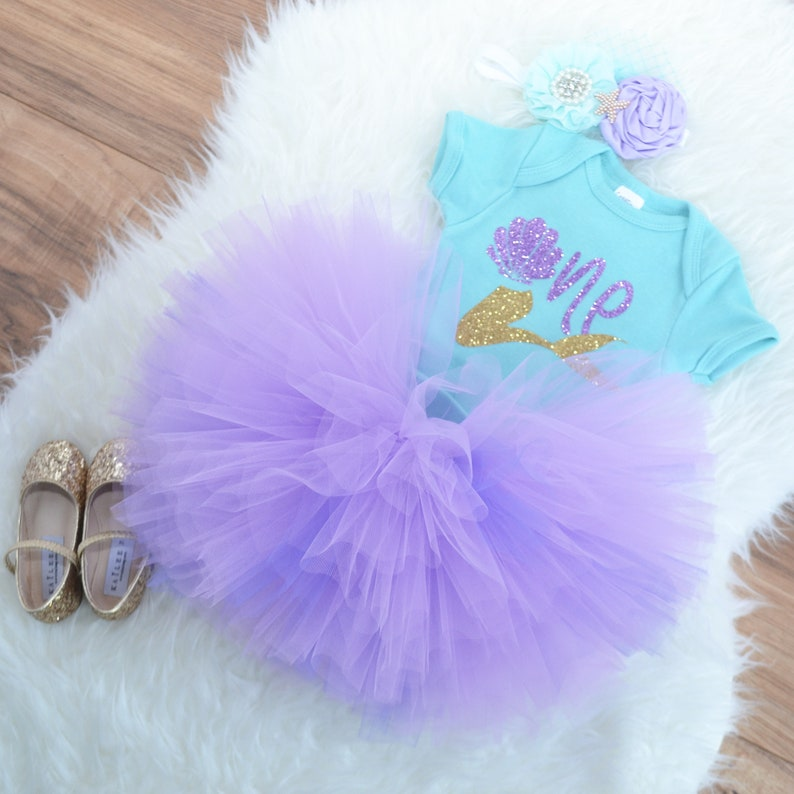 Little mermaid first birthday outfit Under the sea First birthday outfit aqua and lavender tutu aquatic party outfit.