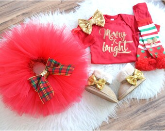 Merry and Bright Outfit, Christmas set outfit, Beautiful Red and Gold outfit for your girl with an extra full and fluffy tutu.