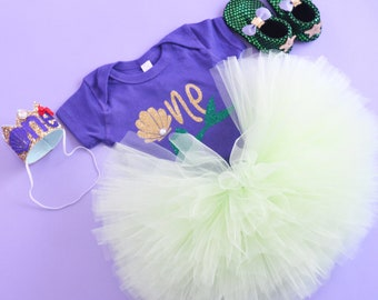 Under the sea First birthday outfit, Little mermaid first birthday outfit, extra fluffy tutu, Mint tutu, aquatic party outfit.