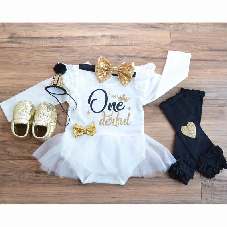 Black and Gold Jumpsuit First birthday glam baby girl White ivory dress for first birthday Black and Gold first birthday dress.