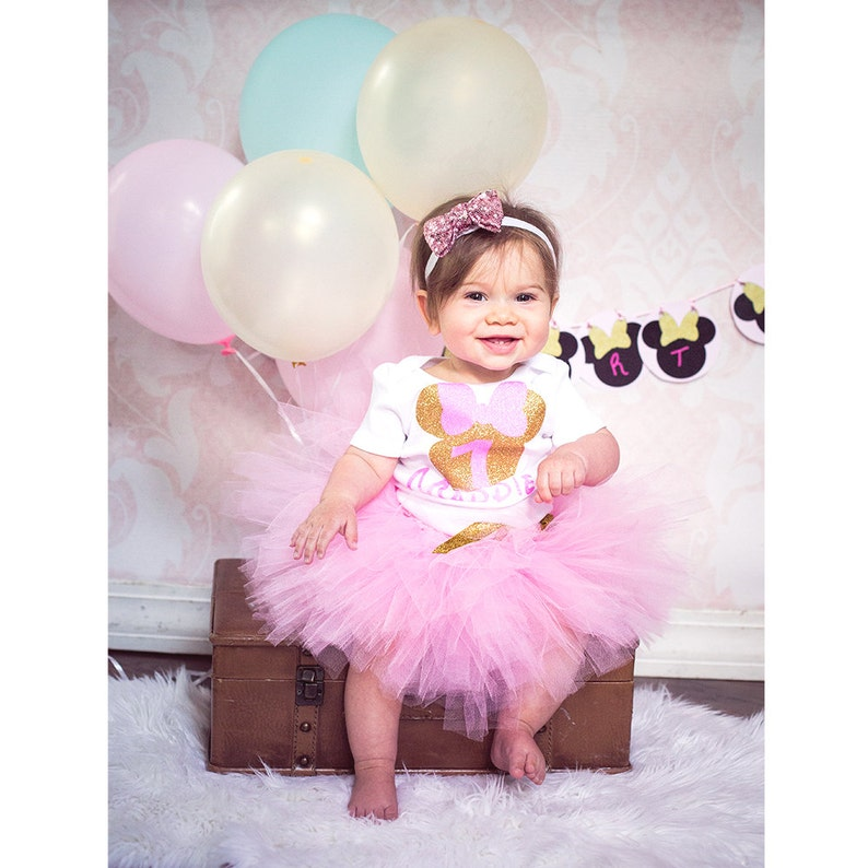 629f8b8ac Minnie Mouse 1st Birthday Pink Gold Minnie Mouse outfit
