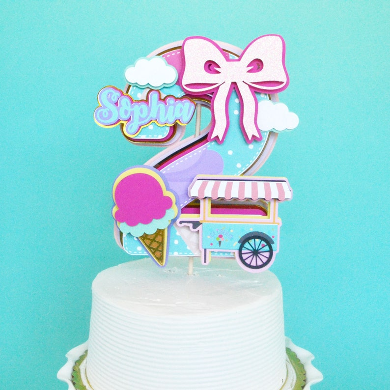 Fabulous Second Birthday Cake Topper Ice Cream Cake Topper Ice Cream Etsy Funny Birthday Cards Online Eattedamsfinfo