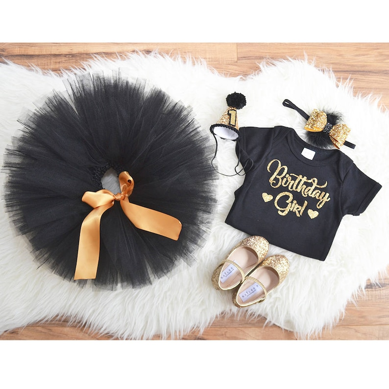 41ac2ea4f8d2e Black Gold First Birthday outfit Black dress Princess