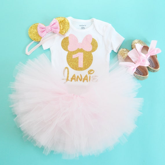 Minnie Mouse 1 Geburtstag Rosa Gold Minnie Mouse Outfit Etsy