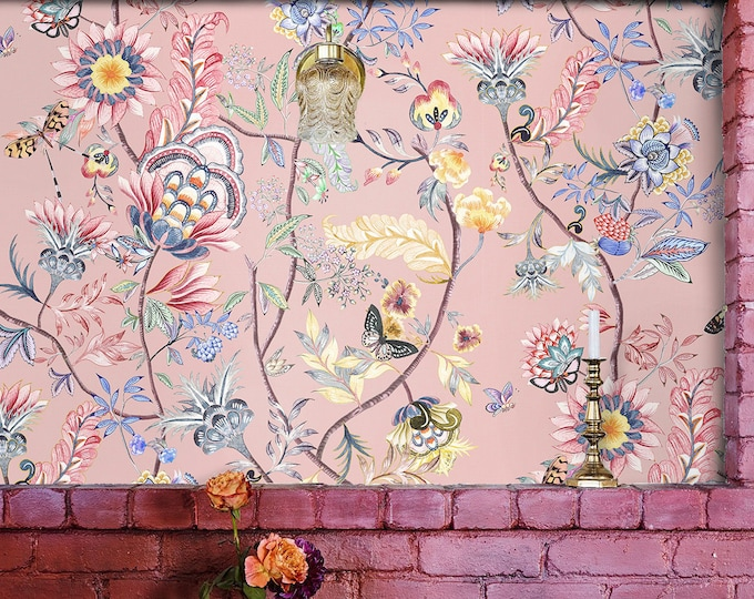 Floral boho wallpaper, Flowers wallpaper, vintage wallpaper, anthropologie wallpaper, watercolor wallpaper, artemis wallpaper