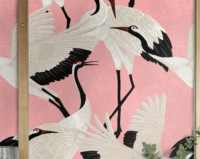 Pink Heron Print Wallpaper, Asian Birds Wall art, Popular Design Wall Decor, Vintage Crane Removable Wallpaper, Chinoiserie Wallpapering