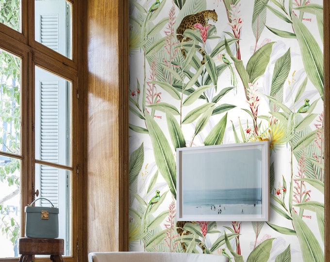Tropic Chic Wallpaper, Chinoiserie, wallpaper, Jungle decor, tropical wall decor, tropical wallpaper, tropical animals, removable wallpaper