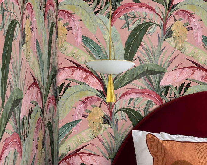 Banana Plant Wallpaper, Pink Wallpaper, Tropical Print