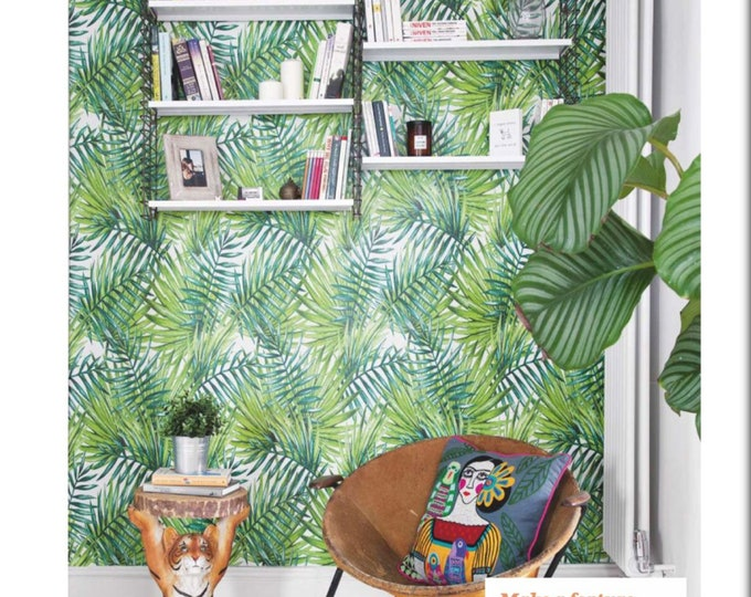 Tropical Forest Wallpaper, Tropical Wallpaper, Jungle Wallpaper, tropical wall decor, vintage wall decor, tropical wall art, wallpaper