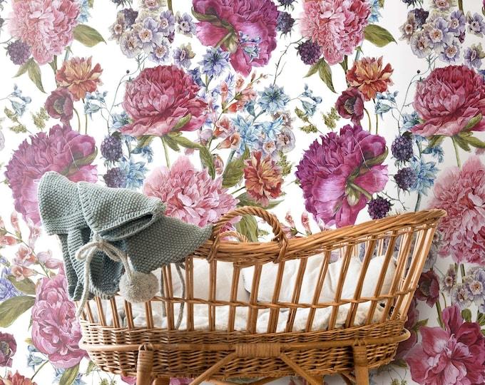 CUSTOM Floral Wallpaper, nursery wallpaper, floral wallpaper, light flowers, Peony wallpaper, Rose Floral, Wallpaper, removable wallpaper