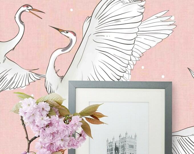 Heron print wallpaper, Herons Wallpaper, Chinoiserie Wall art, Chinoiserie, Herons, Bird wallpaper, vintage wallpaper, oriental wallpaper