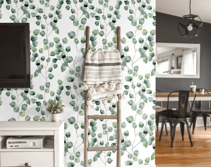 Eucalyptus wallpaper, green leaf wallpaper, eucalyptus leaves, ivy wallpaper, watercolor wallpaper
