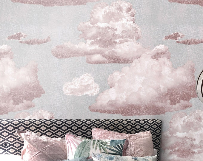 Vintage Style Pink Clouds Wallpaper, Nursery wallpaper