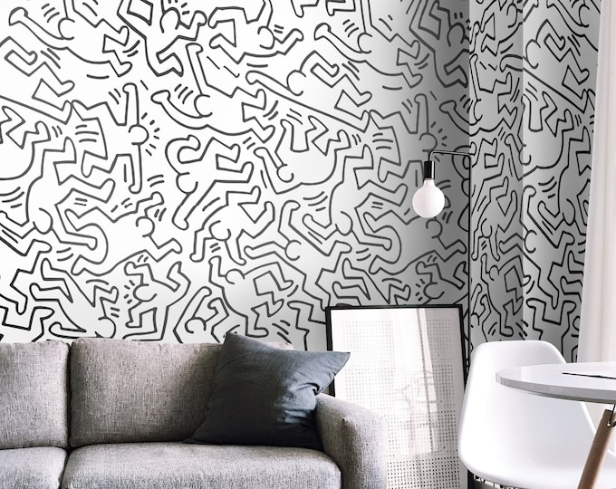 Keith Haring, Black and White Wallpaper, Modern Wall Covering, Minimalist Decor, Pop Art
