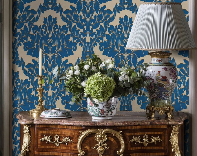 Blue Damask Wallpaper, Victorian Home Decor, Vintage Wallpaper