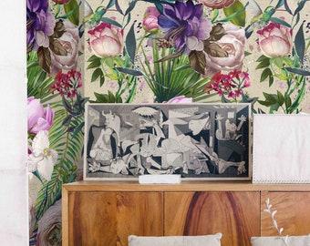 Kinderkamer Jungle Behang : Donkere bloemen behang bloemen behang donkere bloemen peony etsy