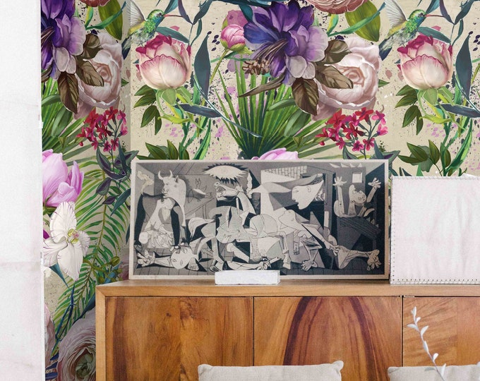 Floral Wallpaper, nursery wallpaper, flowers wallpaper, light flowers, Peony wallpaper, Rose Floral, Wallpaper, removable wallpaper