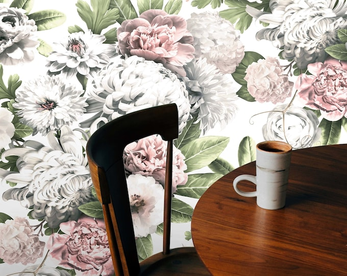 Light Floral Wallpaper, floral wallpaper,light flowers, Peony wallpaper, white Floral, Wallpaper, removable wallpaper, tropical wallpaper,