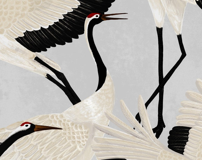 Grey Heron Print Wallpaper, Asian Birds Wall art, Contemporary Design Wall Decor, Vintage Crane Removable Wallpaper
