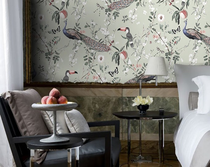 Paradisiac Wallpaper, Chinoiserie wallpaper,  Bucolic wallpaper, vintage wallpaper, removable wallpaper, asian wallpaper