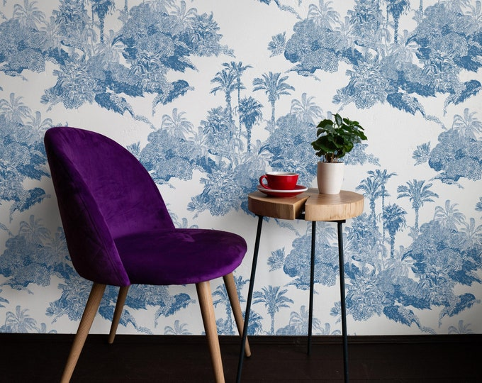 Blue Wallpaper, Tropical Wallpaper, Palm Tree, Modern Beach House Décor