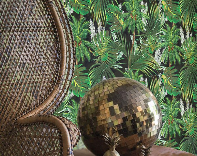 Jungle wallpaper, removable wallpaper, tropical, jungle, leaf wallpaper, wall mural, jungle wall decor, jungle wall covering, wall decal,