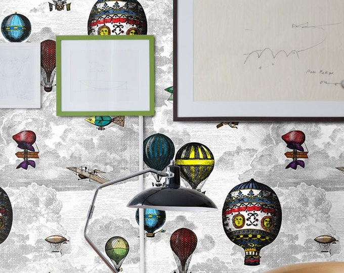 Whimsical Hot Air Balloon Vintage Wallpaper, Art Deco Wallpaper for Feature Wall