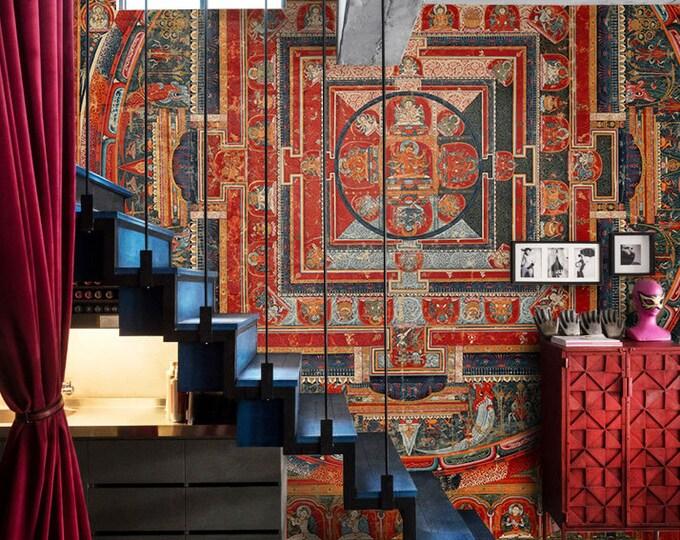 Mandala wallpaper, Mandala wall art, wallpaper mural, mandala print, mandala tapestry, mandala decal, sacred geometry