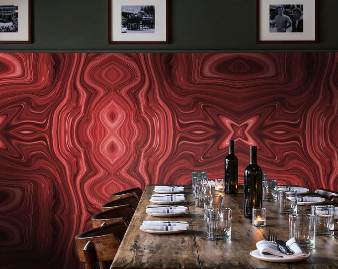 Red Marble Abstract Wallpaper or Wall Mural for Modern Home Décor