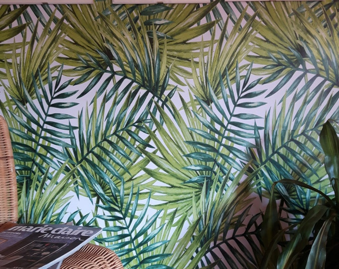 Tropical Print, Forest Wallpaper, Beach House Decor, Living Room Wall Art