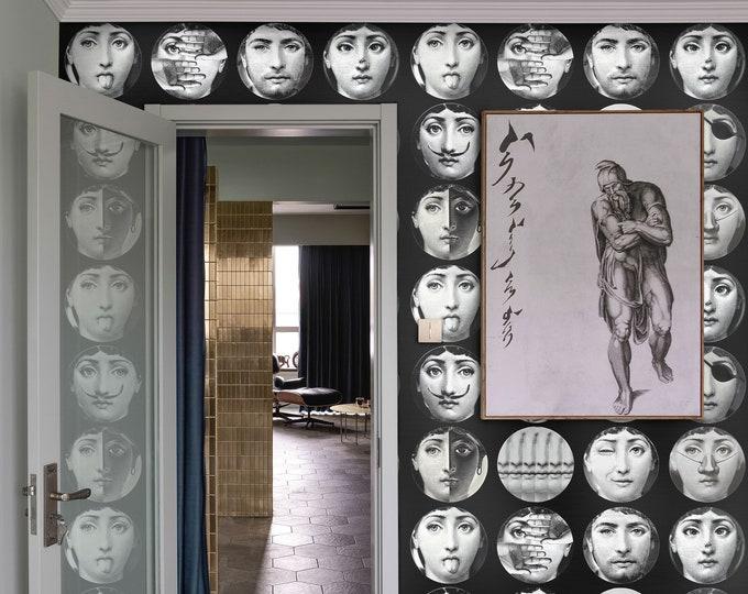 CUSTOM Wallpaper, Vintage Wallpaper, Wallpaper, Fornasetti Plates, Fornasetti Wallpaper, Cole and Son wallpaper, Piero Fornasetti wall
