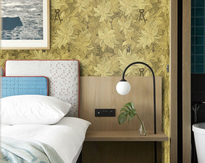 CUSTOM Secret Keys Wallpaper, Wallpaper, Wall Art, Kitchen Decor, Wall Decor, Wall Decor, Green Wall Paper, Green Wallpaper, Fornasetti
