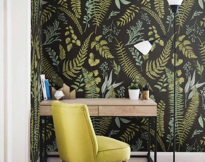 Dark Botanical wallpaper, Ferns Wallpaper, Botanical Wallpaper, Herbal wallpaper, Wall Mural, Herbal Decorations, Removable Wallpaper