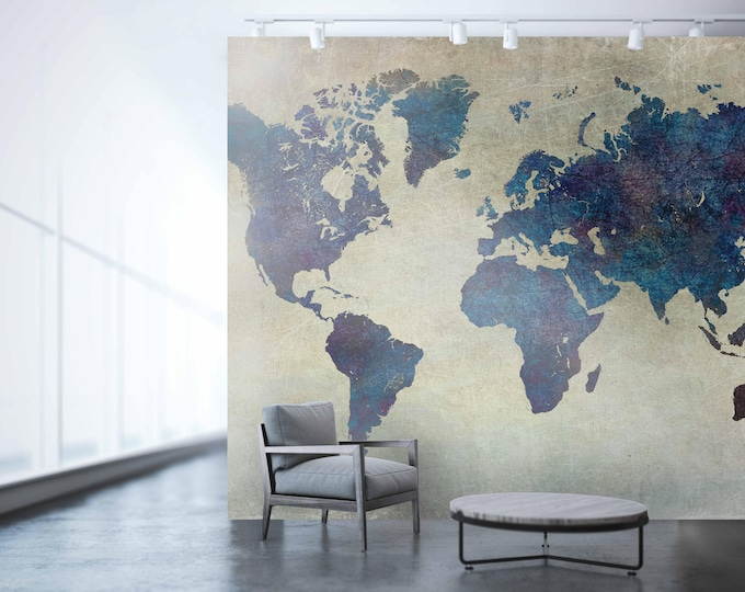 Planisphere Wallpaper, large world map, World map wall art, map of the world, vintage map, large wallpaper, world map, map, world map art