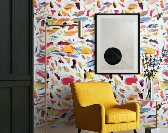 Brushstroke Print, Abstract Wallpaper, Teen Room Décor