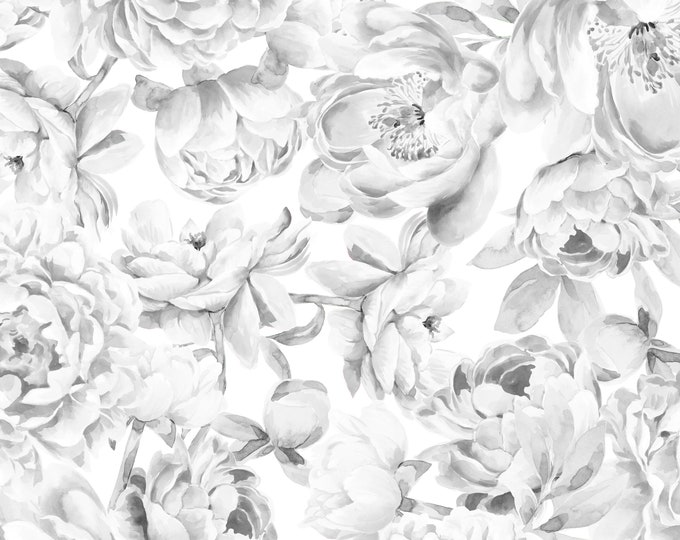 Monochromatic Wallpaper, Black and White Wall Paper, Floral Peony Wallpaper