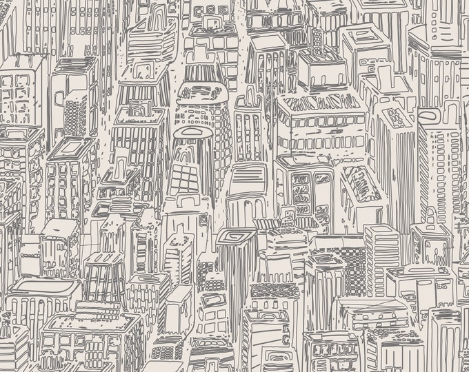 New York City, Hand Drawn Wallpaper, Modern Minimalist Home Décor