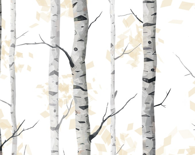 Woodland Wallpaper, Black and White Wallpaper, Modern Minimalist Decor for Nursery