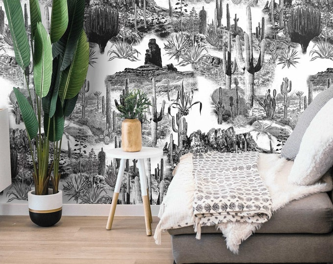 Cactus Print, Desert Wallpaper, Monochromatic Wall Art for Modern Minimalist Décor