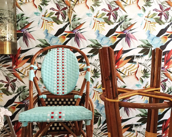 Wallpaper with Palm Leaf Tropical Print
