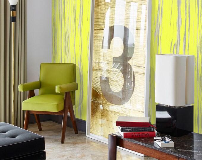 Yellow wallpaper, Grunge wallpaper, Fluo wallpaper, removable wallpaper, vintage wallpaper, grunge background, yellow wall mural